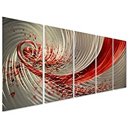 Pure Art Red Explosion Metal Wall Art - Large Abstract Set of 5 Panels – Modern Hanging Sculpture – Enhancing Artwork for Home or Office Measures 64 x 24