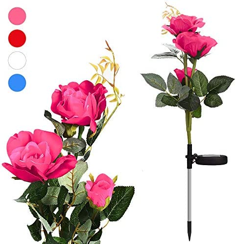 Outdoor Solar Flower Lights – Waterproof Solar Rose – Garden Decorations for Festival-Garden Backyard-Patio Pathway-Driveway – Pink