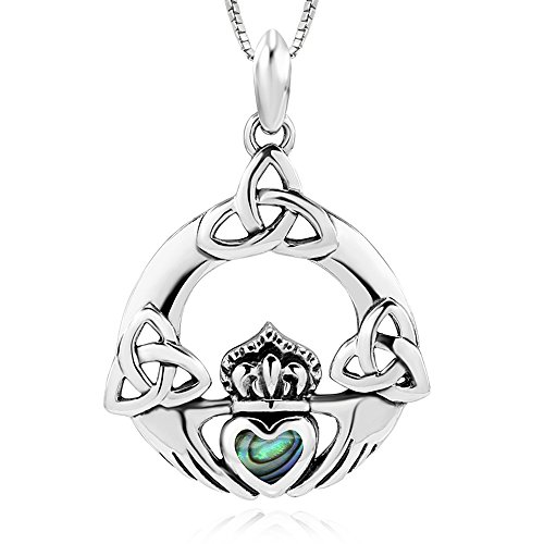 Sterling Shell Silver Abalone (925 Sterling Silver Abalone Shell Irish Claddagh Celtic Knot Pendant Necklace, 18