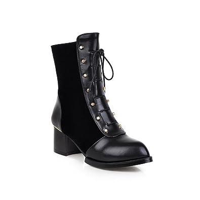 Ladies Chunky Heels Bandage Rivet Black Imitated Leather Boots - 10 B(M) US