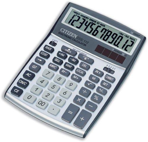 Citizen CCC-112WB Calcolatrice da Scrivania, Argento Metallizzato 700576