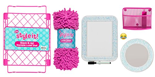 Deluxe School Locker Organizer Kit - Accessories and Decoration Set with Shelf, Rug, Mirror, Message Board and Bin (Fuchsia Glitter) by Style It