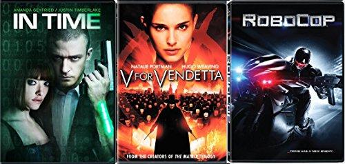 V for Vendetta / Robocop + In Time DVD - Special movie 3 Pack Sci-Fi Set