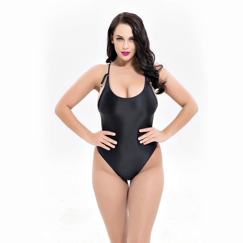 Black Women's Slim Swimsuit Womens Plus Size Tummy Control One Piece Monokini Swimsuits Deep V Lace Up Back Solid Bathing Suit Sleeveless Vintage Beach Swimwear Bodysuit Jumpsuit OnePiece Bikini