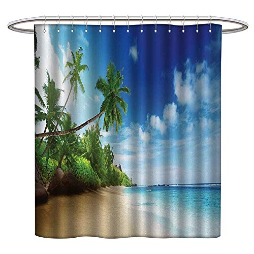 """aotuma Polyester Shower Curtain Ocean,Beach Sunset Tranquil Tropical Sea Waves Coconut Palms Outdoors Photo,Light Brown Green Blue,Decorative Bathroom Curtain,Mildew Resistant 36""""x72"""""""