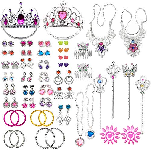 (PiPiHa 72Pcs Princess Jewelry Dress-Up Accessories Toy Set with Princess Tiara Necklace Earrings Rings Wand Bracelets Pretend Play Jewelry Gift Set for Girls Birthday Party)