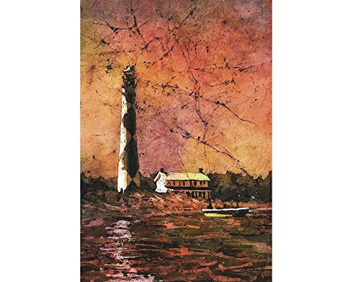 Fine art watercolor batik painting of historic Cape Hatteras lighthouse- Outer Banks, North Carolina. 12x18