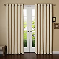 """Best Home Fashion Wide Width Grommet Top Thermal Blackout Curtain 100"""" W X 84"""" L Panel"""