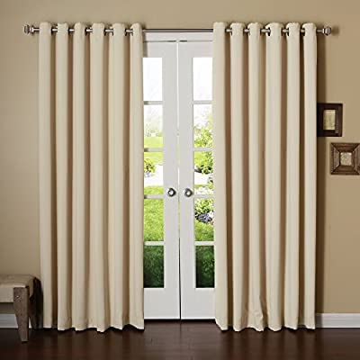 "Best Home Fashion Wide Width Grommet Top Thermal Blackout Curtain 100"" W X 84"" L - 1 Panel - Innovative triple-weave construction helps block out light, outside noise and insulates against heat and cold cutting back on window related energy loss. Independent laboratory tests show curtains blocks out 99% of light and 100% of UV rays Darker colors are more effective in blocking out light - living-room-soft-furnishings, living-room, draperies-curtains-shades - 51zVrQYxL5L. SS400  -"