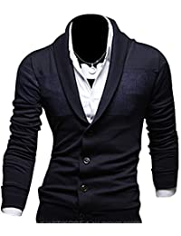 Kiistyle Slim V-Neck Pure Colour Cotton Blended Mens Knit Cardigan