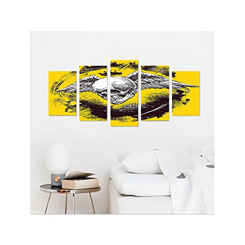 Angel Of Death Hanging Prop (Liguo88 Custom canvas Tattoo Decor The Death Angel Crowned Skull with Wide Magnificent Feather Wings Wall Hanging for Bedroom Living Room Yellow Back and White)