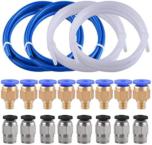 1 M/èTre avec 8 Pi/èCes de Raccords Pc4-M6 et 8 Pi/èCes de Raccord de Tube PTFE Pneumatique Droit Male Pc4-M10 pour Imprimante 3D Filament Shumo 4 Tubes de Tube en T/éFlon PTFE