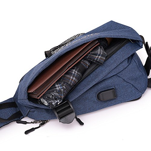 Men Chest Bag Shoulder Bag,Sports Chest Bag Shoulder Sling Backpack Sports Waist Bag with Earphone Hole & USB Charging Hole for Bicycle Sport Hiking Travel Camping Travel Outdoors by Hulorry (Image #5)