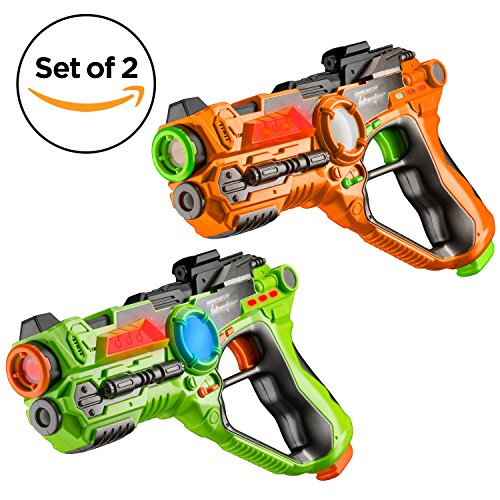 set-of-2-infrared-laser-tag-guns-2-player-indoor-and-outdoor-team-game-by-toydaloo-orange-green