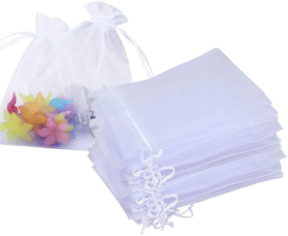 Stratalife 100PCS 5X7 inch White Organza Bags Drawstring Favor Pouches for Wedding Favor Jewelry Gift Bags (White 5x7)