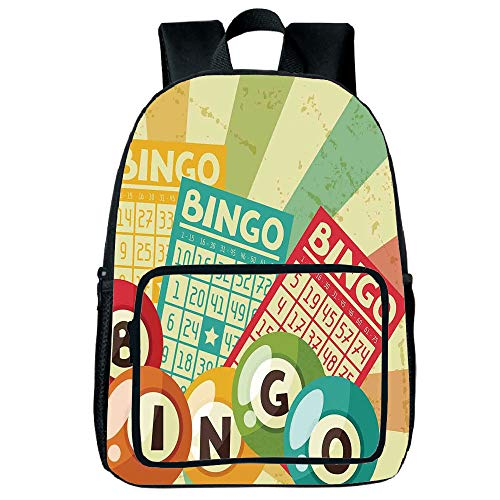 """Light Weight Loss Square Front Bag Backpack,Vintage Decor,Bingo Game with Ball and Cards Pop Art Stylized Lottery Hobby Celebration Theme,Multi,for Children,Print Design.15.7""""x 11.8""""x 6.3"""""""