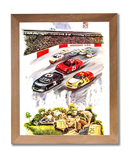 Speedway Nascar Picture - Nascar Speedway Race Track Car Wall Picture Honey Framed Art Print