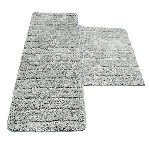 Kitchen Mat, U'Artlines Decorative Non-Slip Microfiber Doormat Bathroom Mats Shower Rugs for Living Room Floor Mats Set (17.7x25.6+17.7x47.2, Striped Gray) by U'Artlines