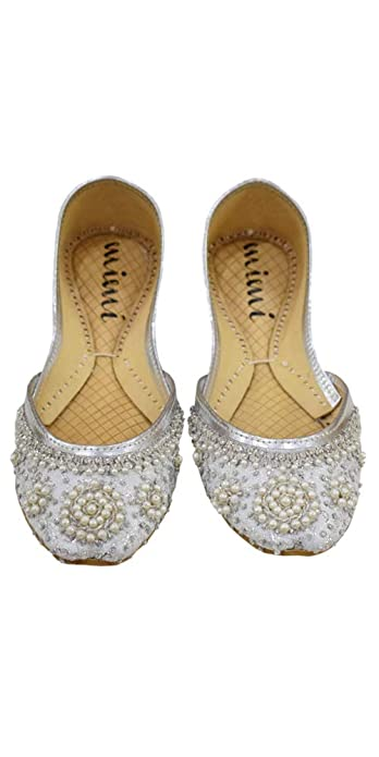 Silver Flats For Wedding.Mimi Women S Khussa Silver Special Occasion Flat Jutti Shoes