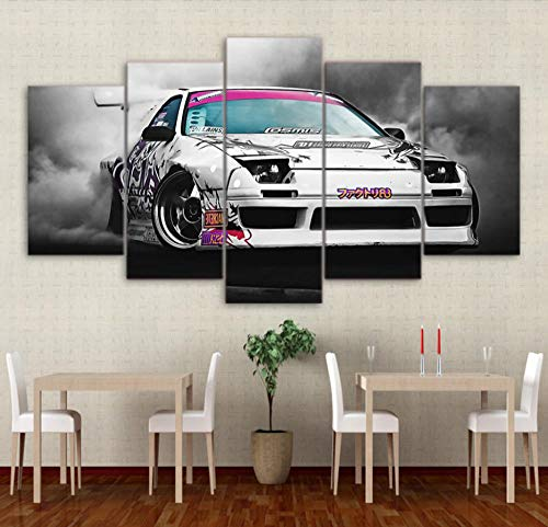 FEISENWLH Five Panel pantings Modern HD Printed Canvas Painting 5 Piece Painting Wall Art Modular Picture Home Decor Japanese Sports Car Racing Smoke Poster
