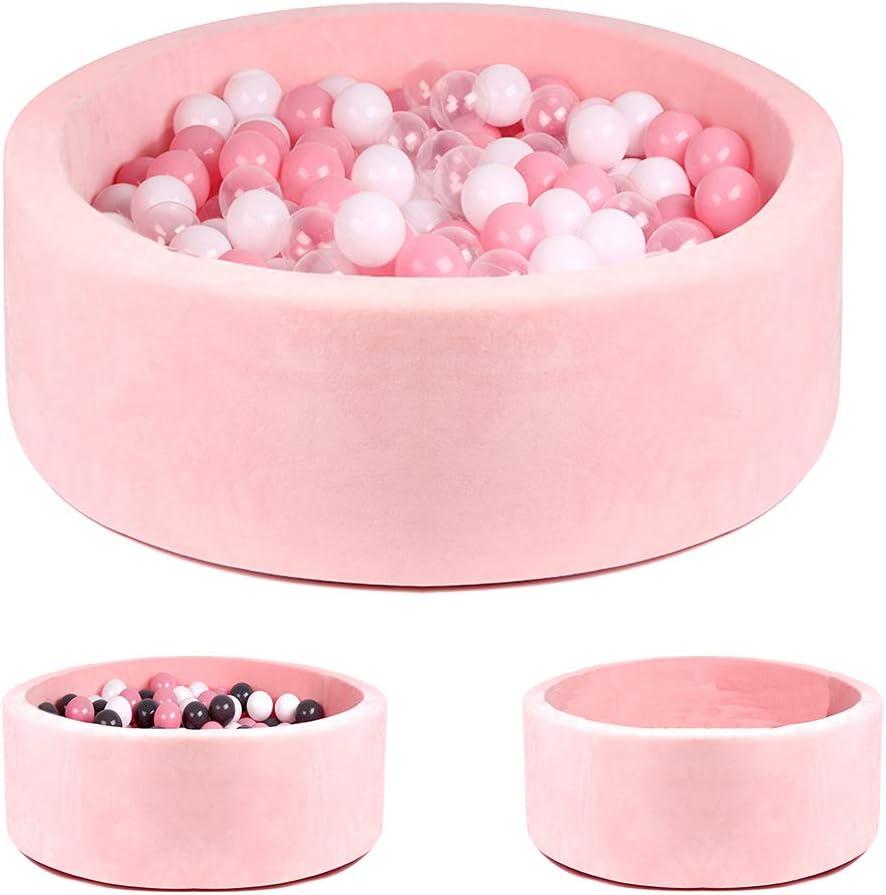 Triclicks Piscina De Bolas Bolas de Juego Redondas para niños Gris bebé (Pink Pool + 200 palline (Rosa / Bianco / Palla Trasparente))