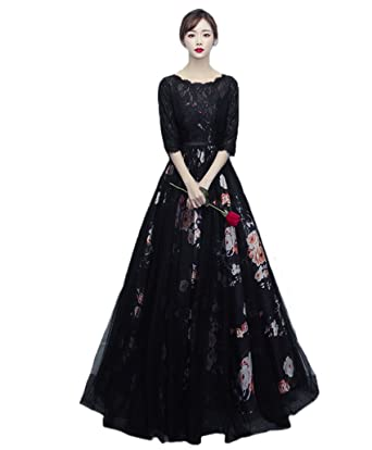 WDH Dress Beautiful Black Evening Dress Pinting Floral Prom Dress With Half Sleeves 30