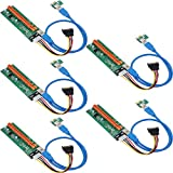 ESYNIC 5 Pack PCI-E Riser Card PCIe Dual Chip PCI-E 16x to 1x Powered Riser Adapter Card w/60cm USB Extension Cable and 15Pin SATA to 4Pin Power Cable for Bitcoin ETH Coin Mining
