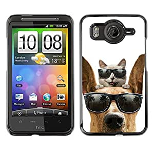 Vortex Accessory Carcasa Protectora Para HTC DESIRE HD - Cat Great Dane Sunglasses Shades Summer -