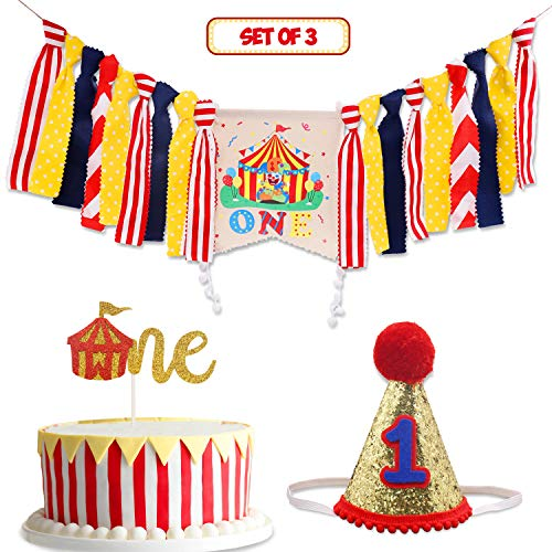 Circus Carnival Theme 1st Birthday Decorations Kit Set of 3- One Burlap High Chair Banner- Cake Smash Party Supplies- Glitter Red Felt 1st Birthday Hat- Circus Tent Cake Topper
