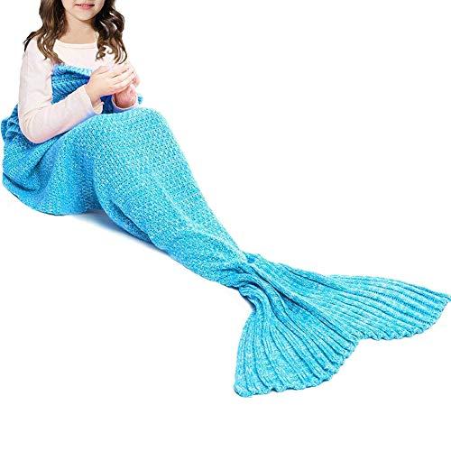 JR.WHITE Mermaid Tail Blanket Kids and Adults, Hand Crochet Snuggle Mermaid,All Seasons Seatail Sleeping Bag Blanket (Sky Blue)