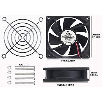 GDSTIME 80mm x 80mm x 25mm DC 24V Dual Ball Bearings Brushless Cooling Cooler Case Fan