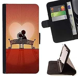 For HTC DESIRE 816 Case , Amor Pareja Dulce Atardecer romántico- la tarjeta de Crédito Slots PU Funda de cuero Monedero caso cubierta de piel