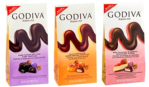 Godiva Dessert Truffles 3 Flavor Variety Bundle, (1) each: Dark Chocolate Lava, Milk Chocolate Creme Brulee, Milk Chocolate Strawberry Cheesecake (4.25-4.3 Ounces) (Godiva Strawberry Chocolate)