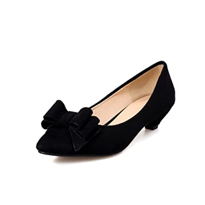 A&N Ladies Bows Pointed-Toe Low-Cut Uppers Black Suede Flats-Shoes - 11 B(M) US