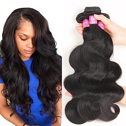 VRBest Hair Brazilian Virgin Hair Body Wave 4 Bundles 100% Unprocessed Virgin Human Hair Weave Extensions Natural Color (100+/-5g)/pc (22 24 26 28)