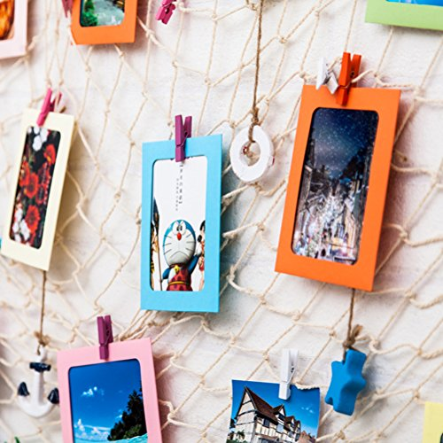 YeahiBaby Paper Photo Frame with Clothespins and String (4×6-inch) – Pack of 20