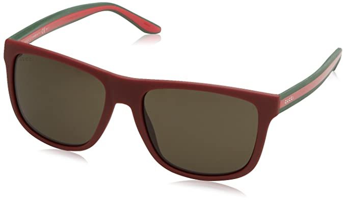 6bb42a05aef7 Amazon.com  Gucci Gucci 1118 S 0MQ8 Red Green NR brown gray lens ...