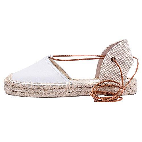 Chaussures forme Sandales Cuir Plate Blanc Fermé Orteil sandale Rismart De Décontractée Femmes Escarpin Air Plein qO4wZxxEp