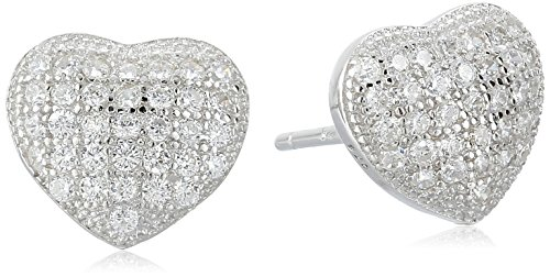 Sterling Silver Petite Micro Pave Cubic Zirconia Heart Stud Earrings (Micro Pave Heart)