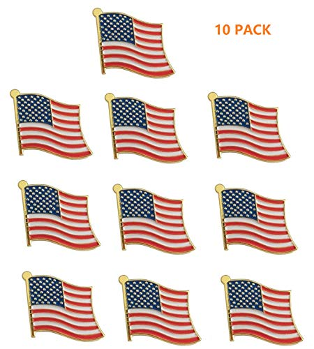 (Exquisite 1 Inch American Flag Pin USA Flag Pin The Stars and Stripes - Made in The USA -Gold Tone -10 Pack )