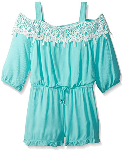 My Michelle Big Girls' Long Sleeve Cold Shoulder Romper with Crochet Trim, Mint, M by My Michelle