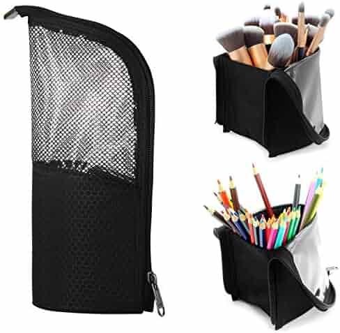 Makeup Brush Organzier Bag,High Capacity Portable Stand-Up Makeup Brush Holder,Professional Artist Makeup Brush Sets Case Waterproof Dust-proof Makeup Brush Cup