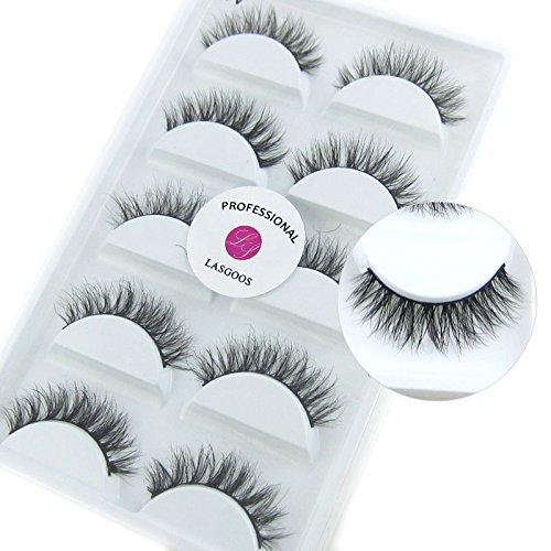 Luxurious Siberian Mink 3D False Eyelash LASGOOS Degisn Natural Messy Cross Daily Fake Eyelashes Eye Makeup 5 Pairs/Box (A10)