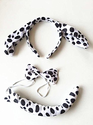 Cute Dog Bear Costume (Kids Cute Animal Ears Headband Party Costume Cosplay 3pcs: Ear Headband, Tie, Tail (Spotted dog))
