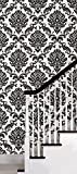 Black Damask Peel & Stick Wallpaper Wall Decal 21 x 216in