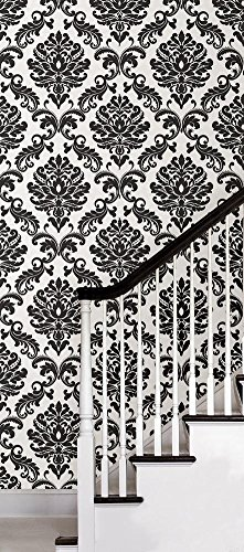 Black Damask Peel & Stick Wallpaper Wall Decal 21 x 216in by Fine Decor