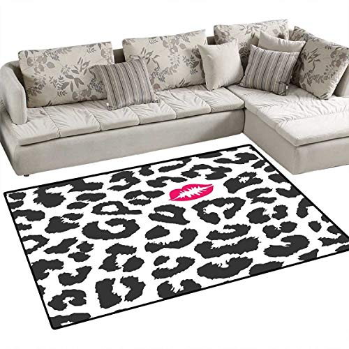 Safari Kids Carpet Playmat Rug Leopard Cheetah Animal Print with Kiss Shape Lipstick Mark Dotted Trend Art Door Mats for Inside Non Slip Backing 4'x6' Charcoal Grey Pink