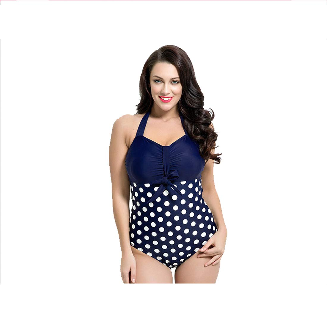 Style A Swimsuit Large Size Retro Wave Point Conjoined Beach Covered Belly Slimming Gathering Beach spa Vacation Ladies Swimwear
