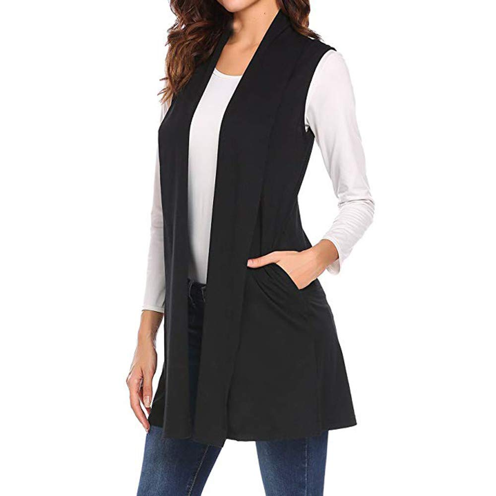 LINSINCH Womens Tops Casual Sleeveless Cape Shawl Pocket Draped Open Front Cardigan Vest Coat