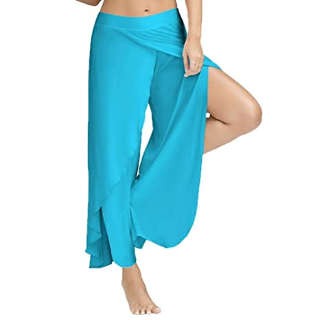 48af47b2eff75 Image Unavailable. Image not available for. Color  Women s Comfy High Split Wide  Leg Flowy Long Palazzo Pants Plus Size Casual Loose Yoga Stretch
